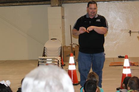 BCEC employee presents safety demonstration to students