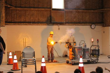 BCEC employee presents arcing demonstration to students